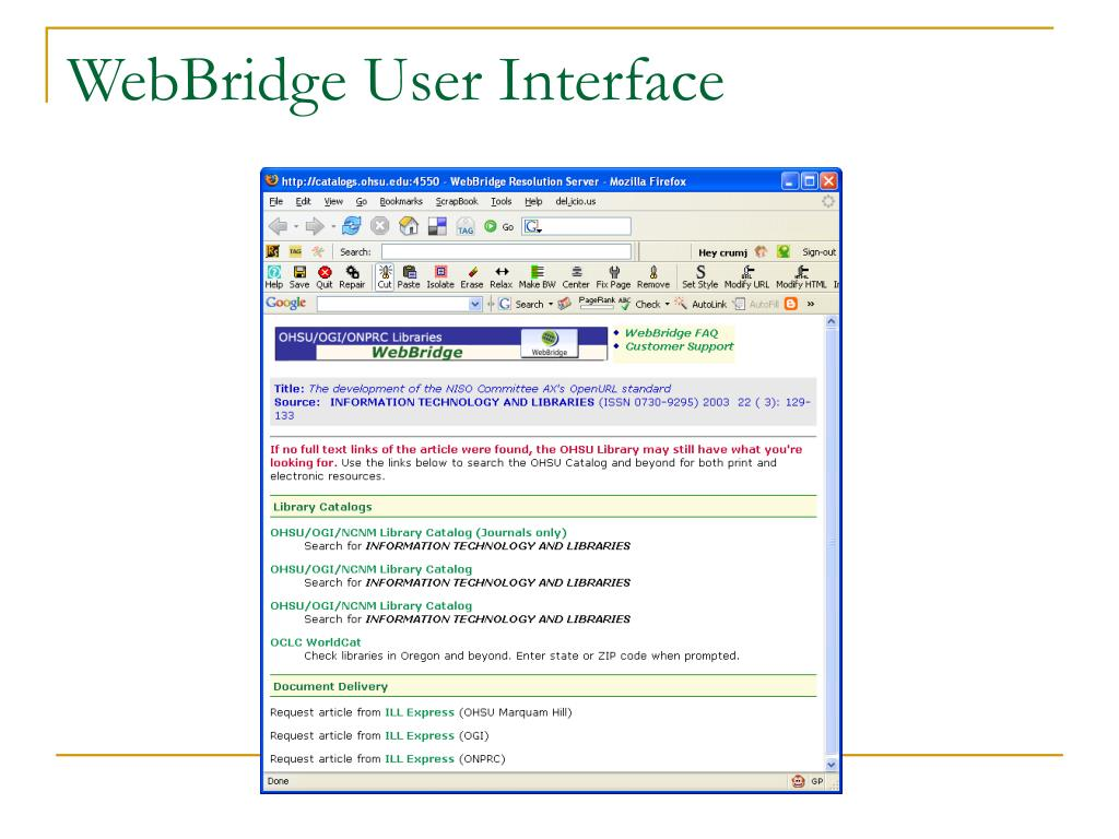 WebBridge User Interface