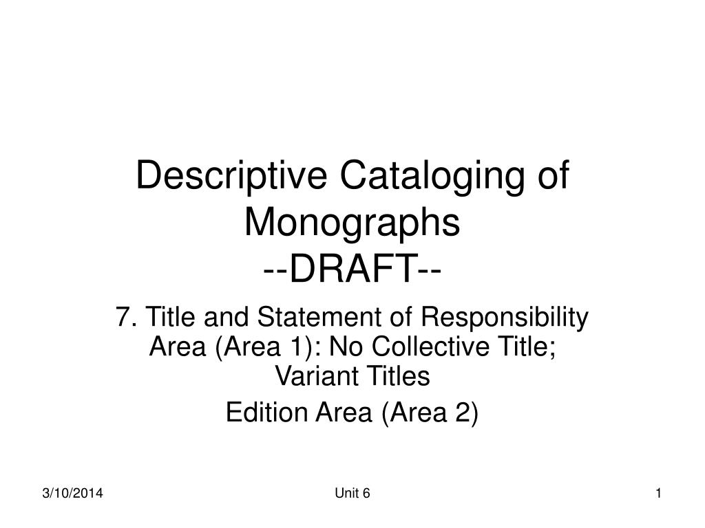 descriptive cataloging of monographs draft l.