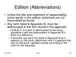 edition abbreviations