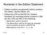 numerals in the edition statement