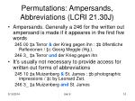 permutations ampersands abbreviations lcri 21 30j