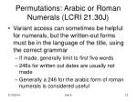 permutations arabic or roman numerals lcri 21 30j