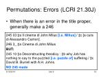 permutations errors lcri 21 30j