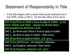 statement of responsibility in title