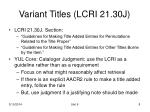 variant titles lcri 21 30j