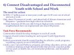 6 connect disadvantaged and disconnected youth with school and work