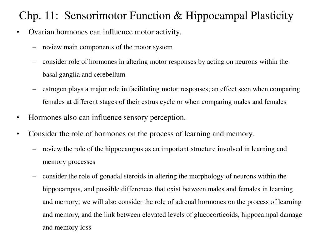 chp 11 sensorimotor function hippocampal plasticity l.