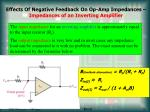 effects of negative feedback on op amp impedances impedances of an inverting amplifier