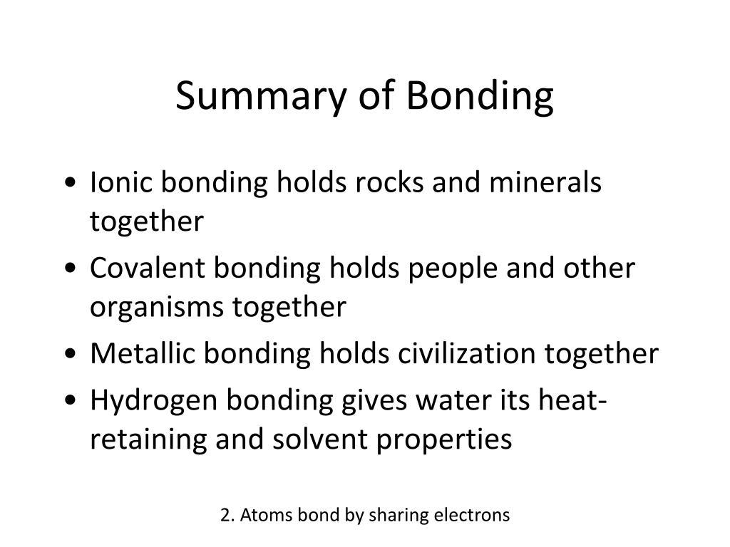 Summary of Bonding