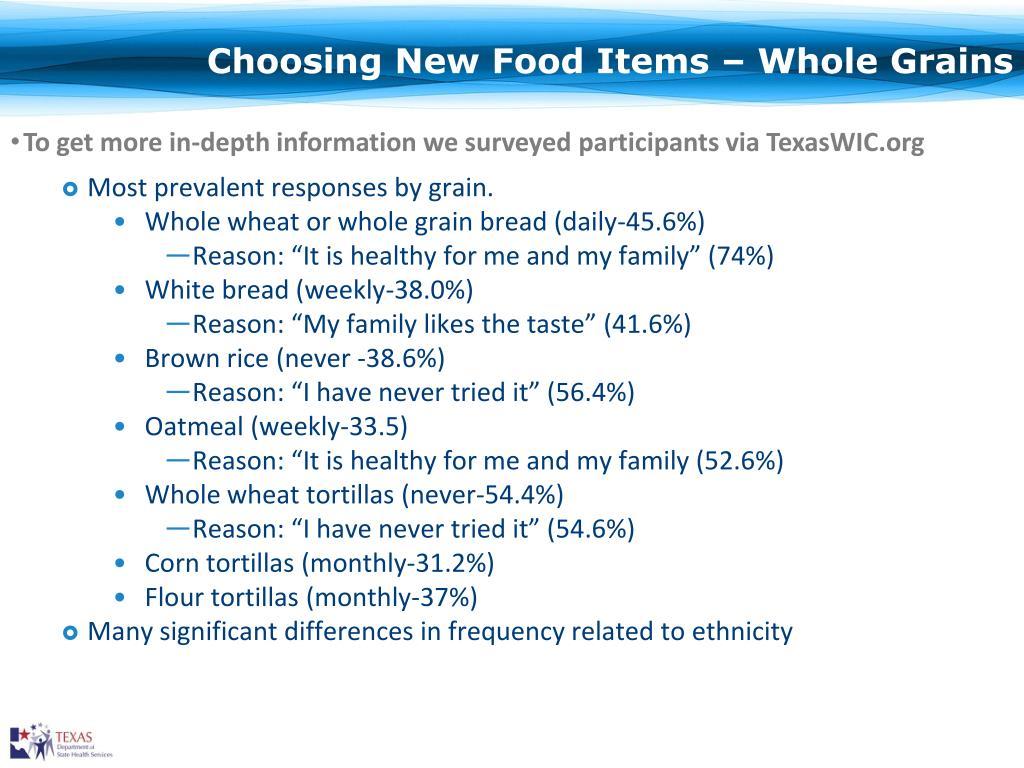 Choosing New Food Items – Whole Grains