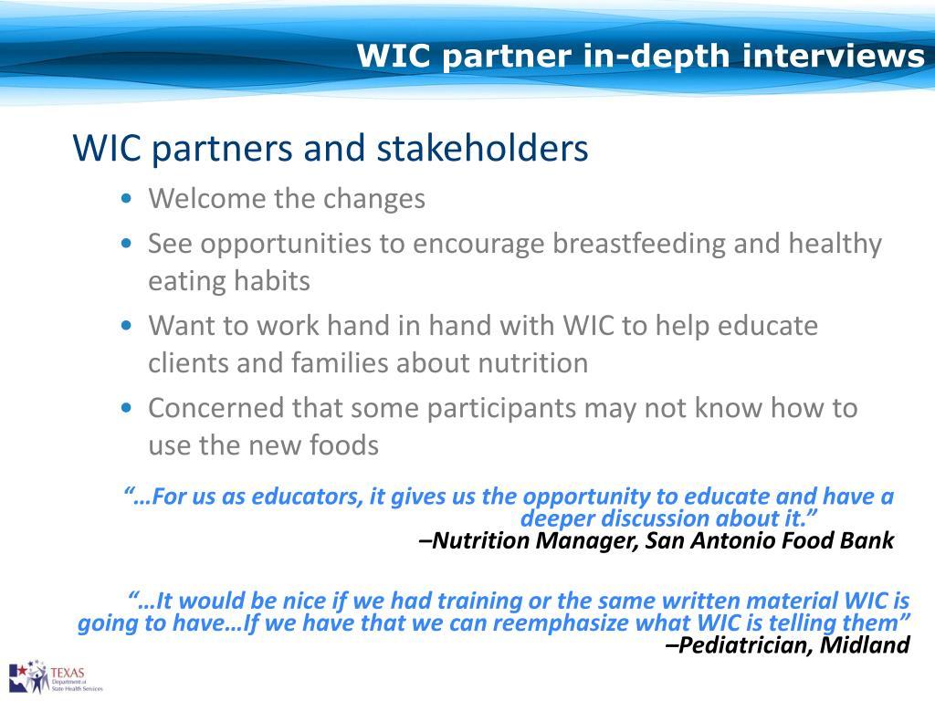 WIC partner in-depth interviews