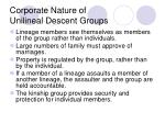 corporate nature of unilineal descent groups