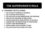 the supervisor s role