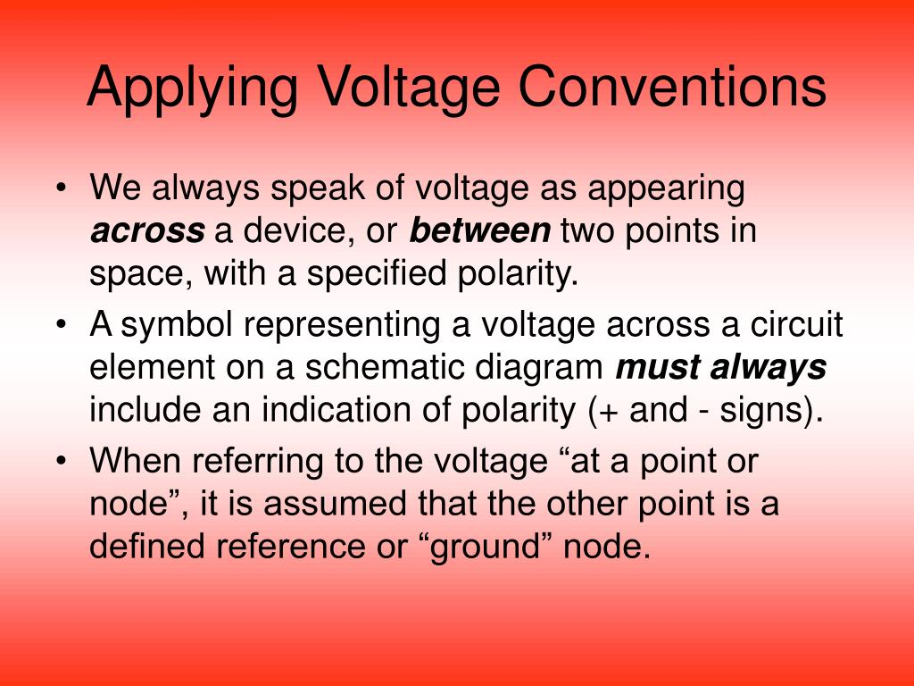 Applying Voltage Conventions