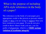 what is the purpose of including apa style references in the body of a paper