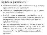 symbolic parameters