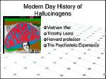 modern day history of hallucinogens