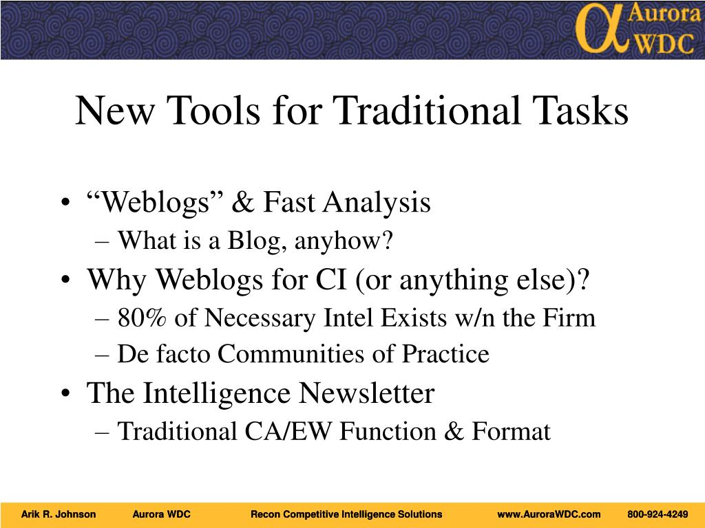 New Tools for Traditional Tasks