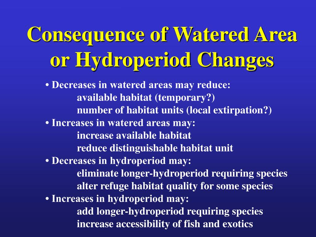 Consequence of Watered Area or Hydroperiod Changes