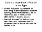 sale and lease back finance lease type