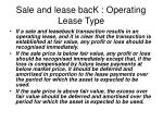 sale and lease back operating lease type