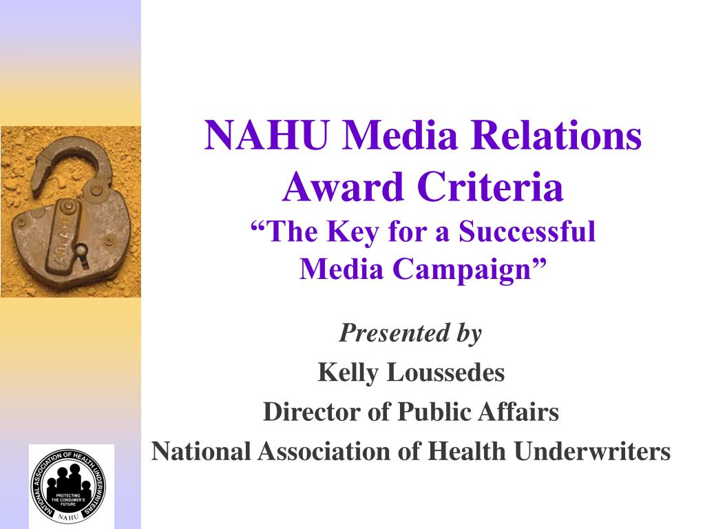 nahu media relations award criteria the key for a successful media campaign l.