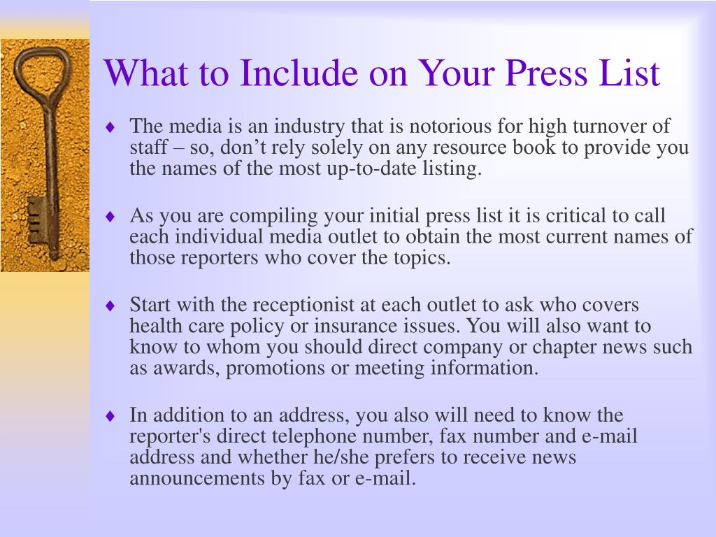 What to Include on Your Press List