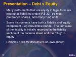 presentation debt v equity