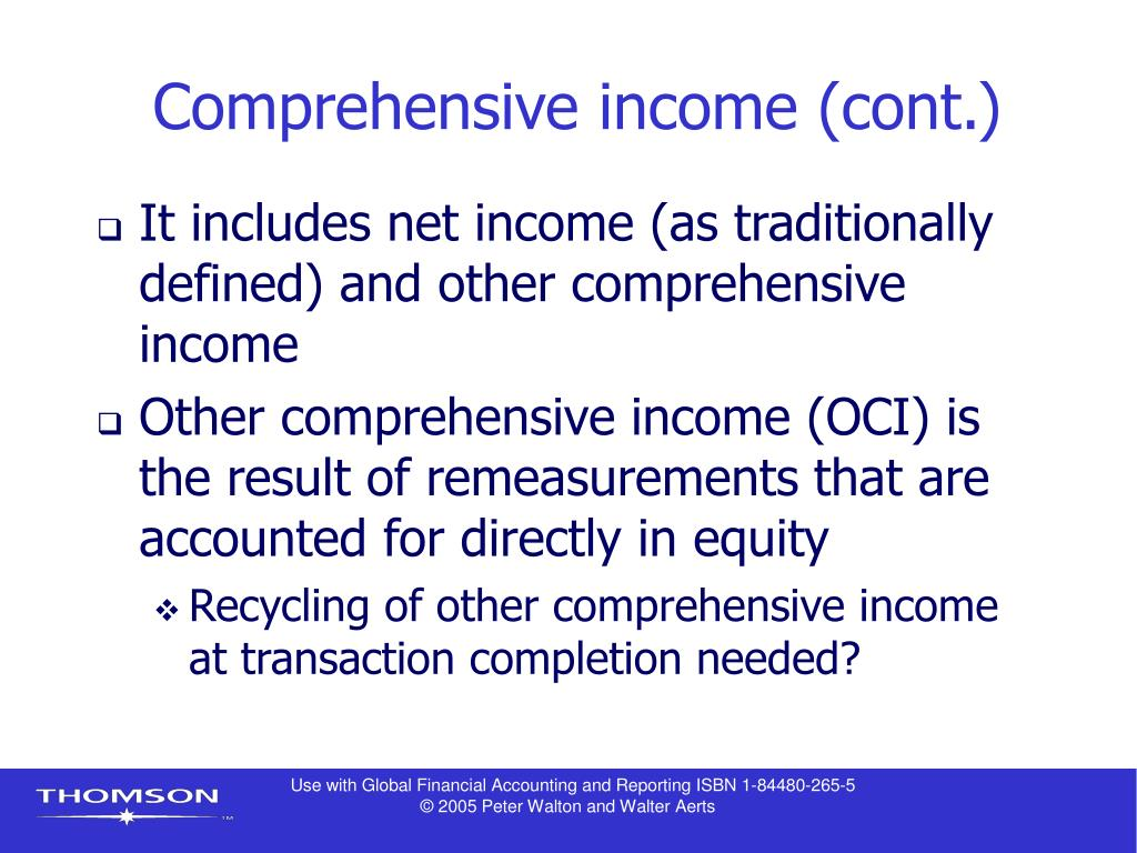 Comprehensive income (cont.)