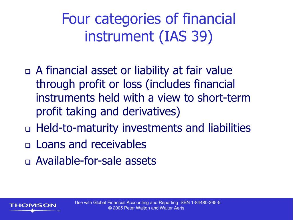 Four categories of financial instrument (IAS 39)