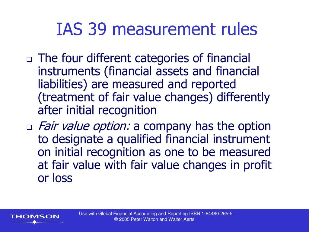 IAS 39 measurement rules