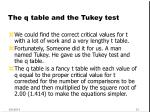 the q table and the tukey test