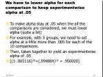 we have to lower alpha for each comparison to keep experimentwise alpha at 05