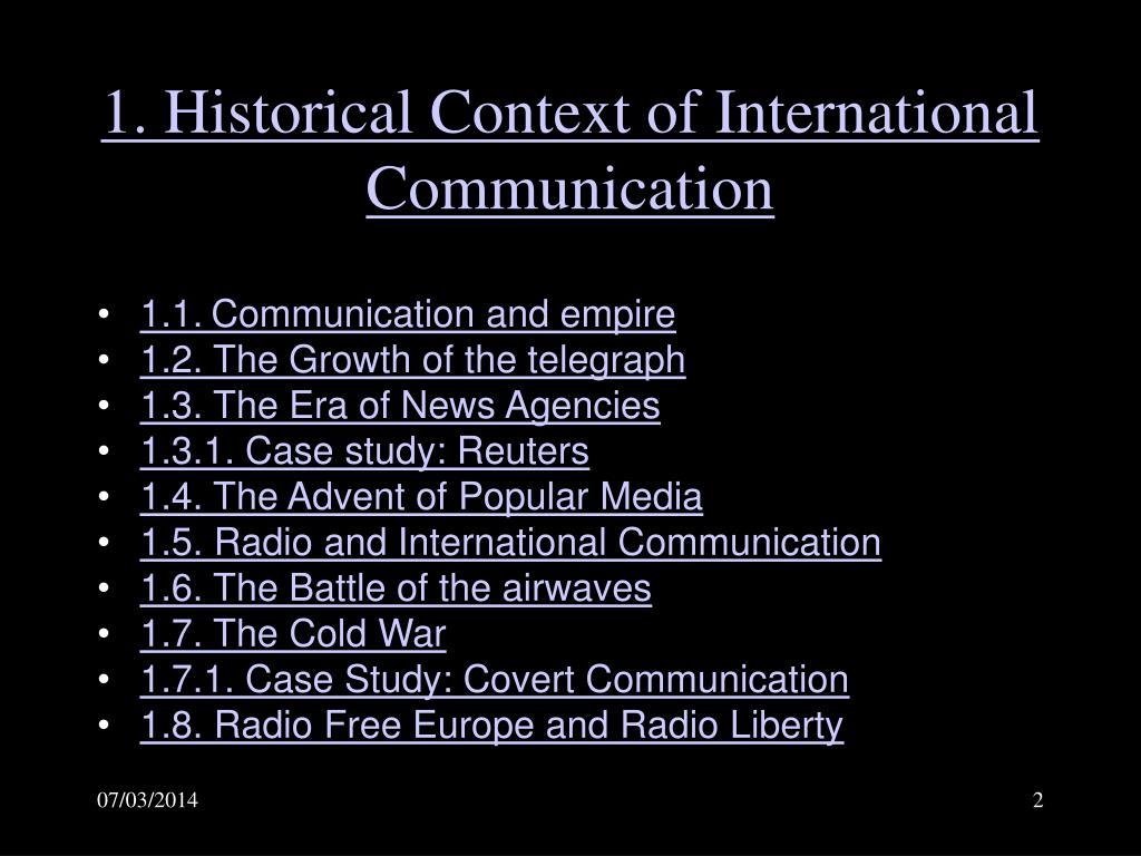 1. Historical Context of International Communication