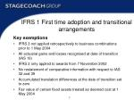 ifrs 1 first time adoption and transitional arrangements