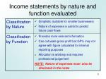 income statements by nature and function evaluated