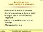 forces driving a multi domestic approach