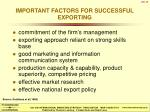 important factors for successful exporting
