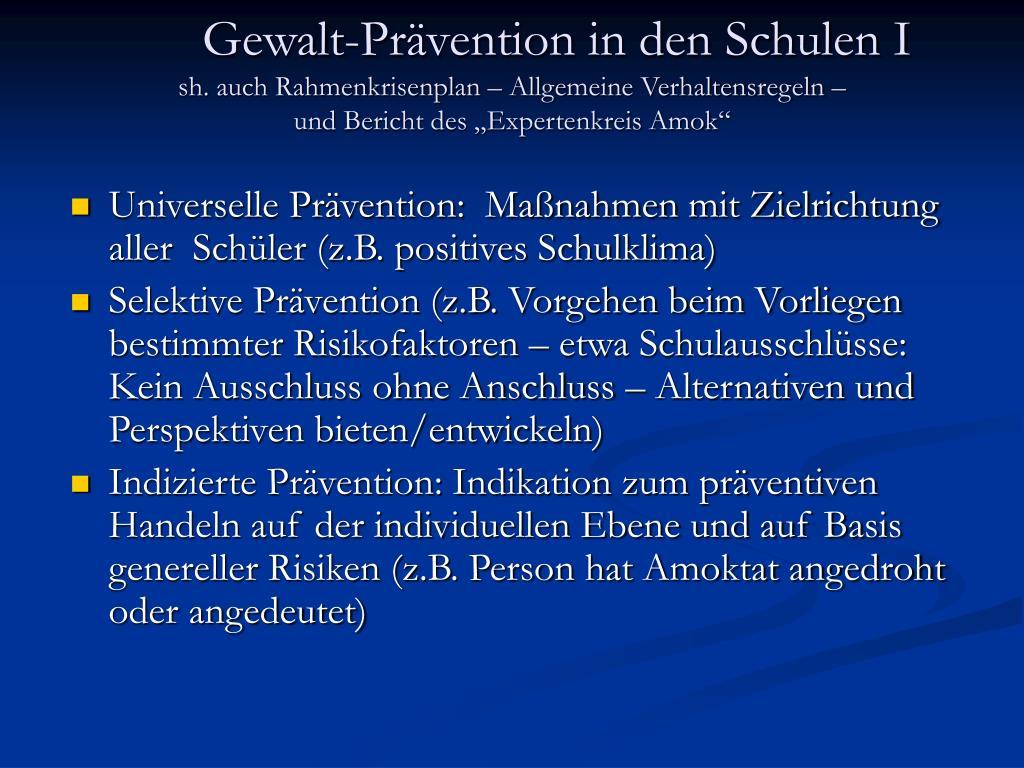 Gewalt-Prävention in den Schulen I