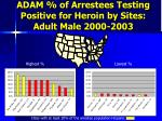 adam of arrestees testing positive for heroin by sites adult male 2000 2003