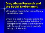 drug abuse research and the social environment