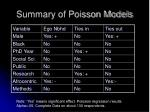 summary of poisson models