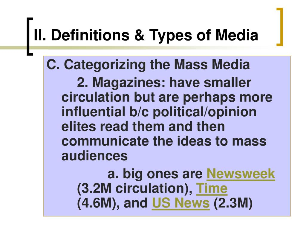 II.Definitions & Types of Media