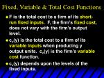 fixed variable total cost functions