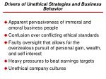 drivers of unethical strategies and business behavior