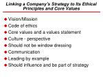 linking a company s strategy to its ethical principles and core values