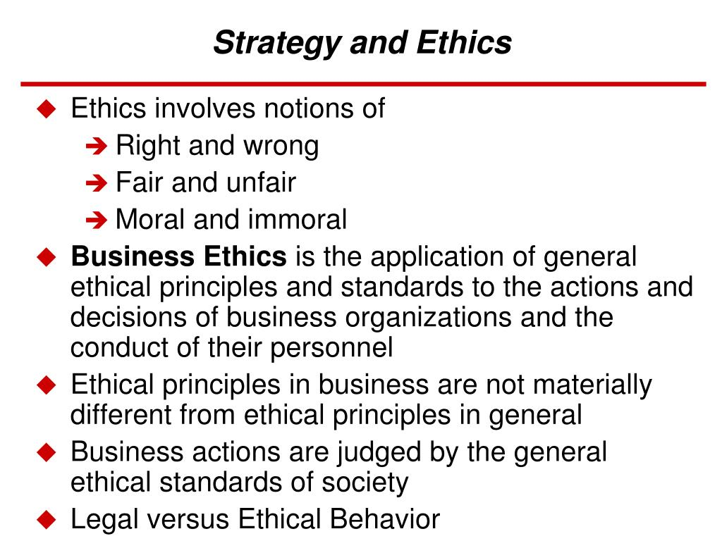 strategy and ethics l.