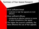 summary of fear appeal research