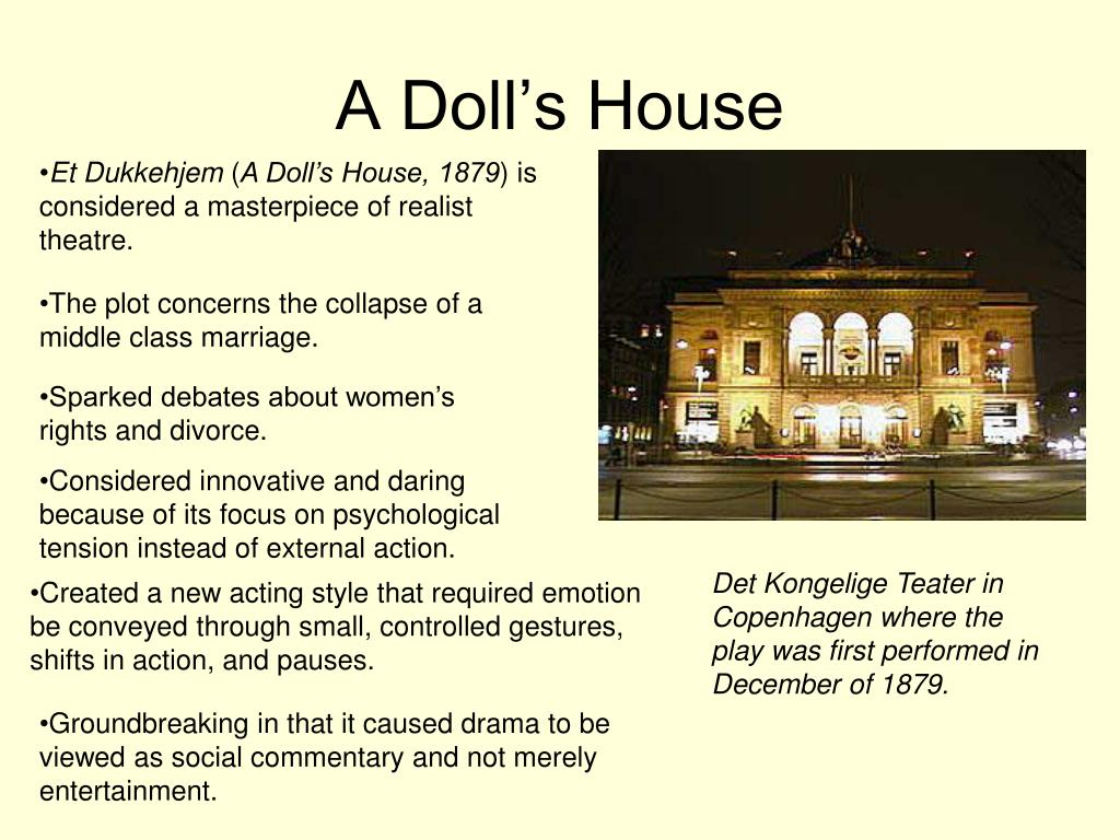 a dolls house essay 2) miss julie/ a dolls house dfk 120 erene oberholzer 11045231 dr m taub 4 september 2012 in this essay two plays, miss julie written by august strindberg, and a.