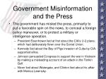 government misinformation and the press